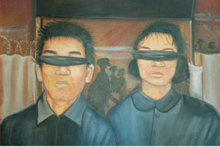 Bou Meng and his wife at the entrance to Tuol Sleng. Painting by Bou Meng Reproduced by kind permission of the Documentation Centre of Cambodia